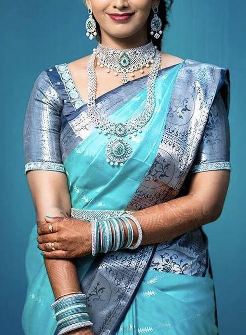 Adorable Blue Colored Kanchivaram Silk Saree With Blouse - SK146